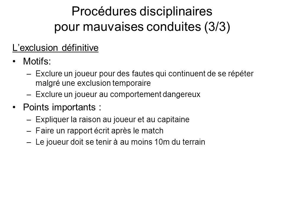 Procédures disciplinaires pour mauvaises conduites (3/3)