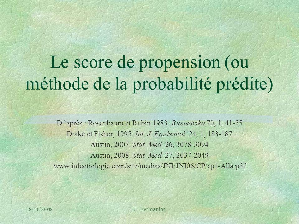 Le score de propension (ou méthode de la probabilité prédite)