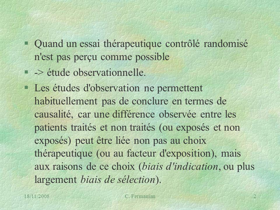 -> étude observationnelle.