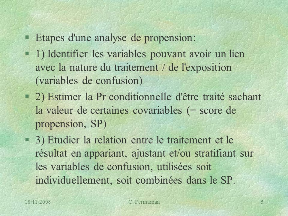 Etapes d une analyse de propension: