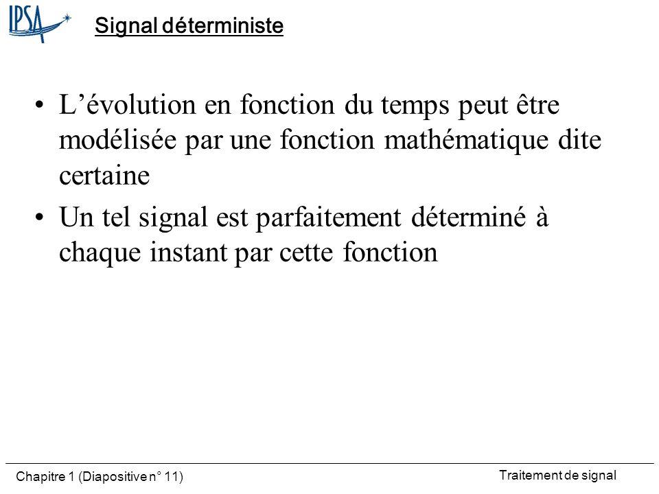 Signal déterministe L'évolution en fonction du temps peut être modélisée par une fonction mathématique dite certaine.