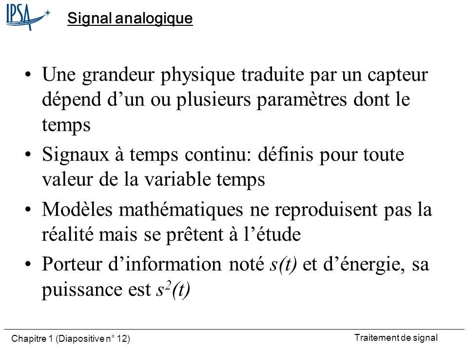 Porteur d'information noté s(t) et d'énergie, sa puissance est s2(t)
