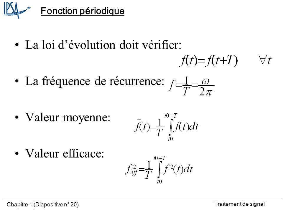 La loi d'évolution doit vérifier: La fréquence de récurrence: