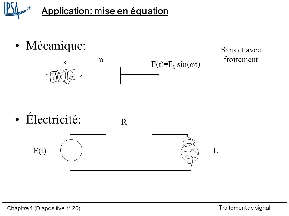 Application: mise en équation
