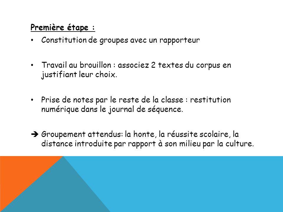 Première étape : Constitution de groupes avec un rapporteur. Travail au brouillon : associez 2 textes du corpus en justifiant leur choix.
