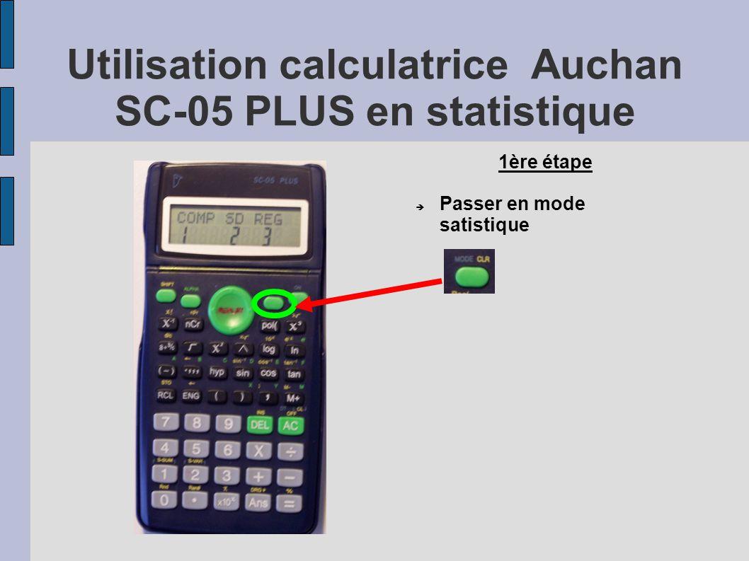Utilisation calculatrice Auchan SC-05 PLUS en statistique