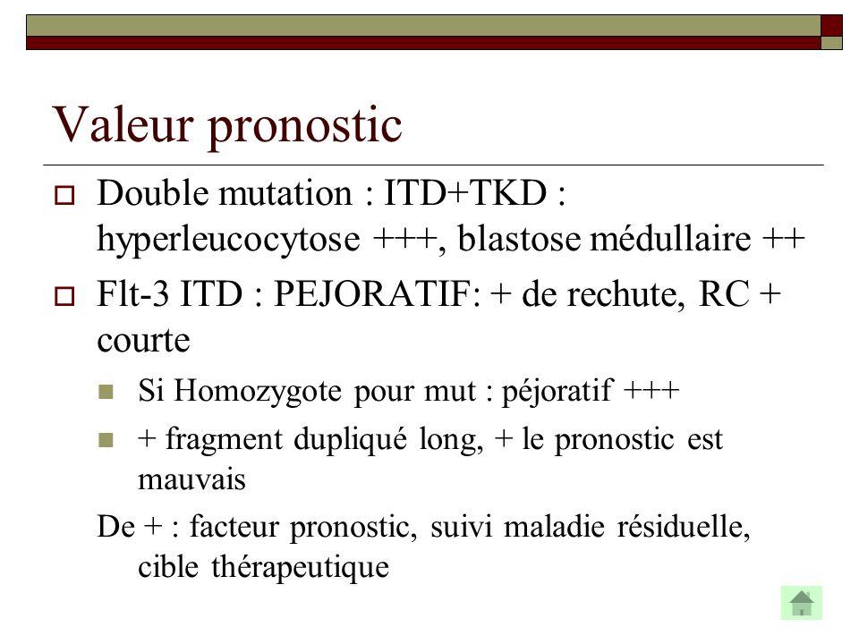 Valeur pronostic Double mutation : ITD+TKD : hyperleucocytose +++, blastose médullaire ++ Flt-3 ITD : PEJORATIF: + de rechute, RC + courte.