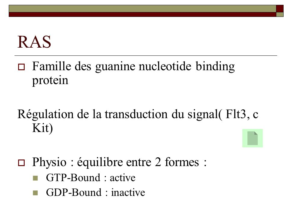RAS Famille des guanine nucleotide binding protein