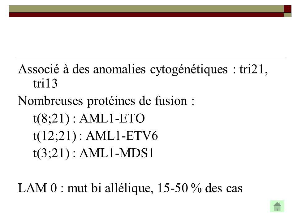 Associé à des anomalies cytogénétiques : tri21, tri13