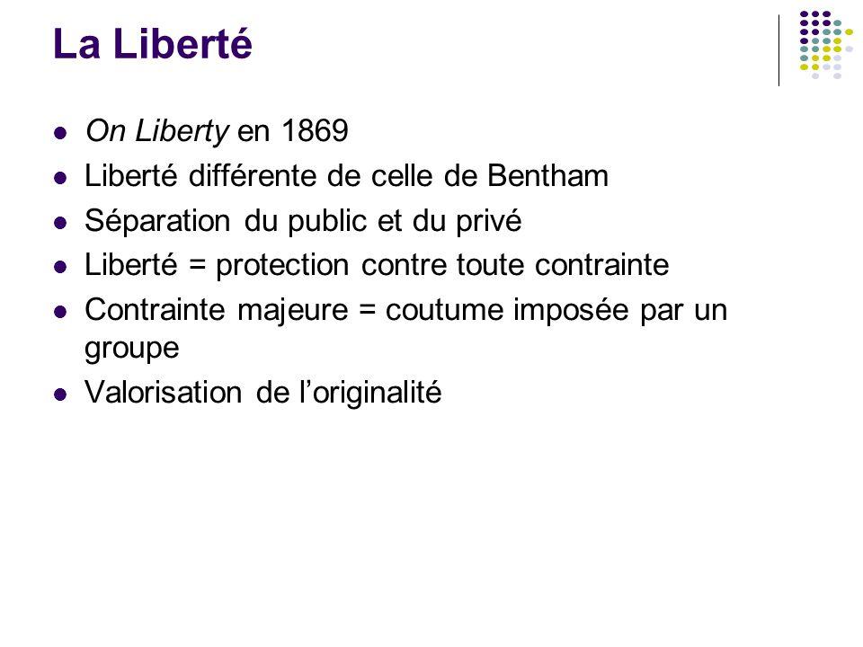 La Liberté On Liberty en 1869 Liberté différente de celle de Bentham
