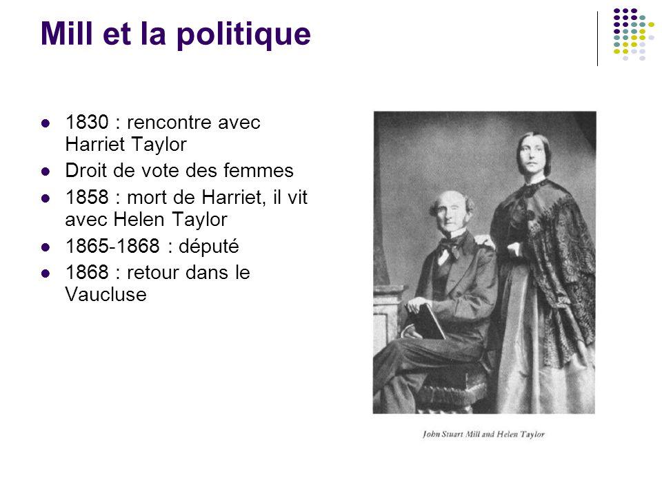 Mill et la politique 1830 : rencontre avec Harriet Taylor