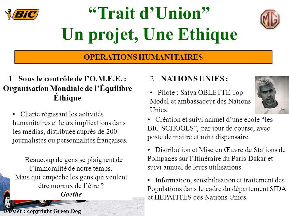 Trait d'Union Un projet, Une Ethique OPERATIONS HUMANITAIRES