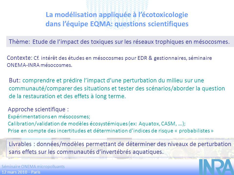 La modélisation appliquée à l'écotoxicologie