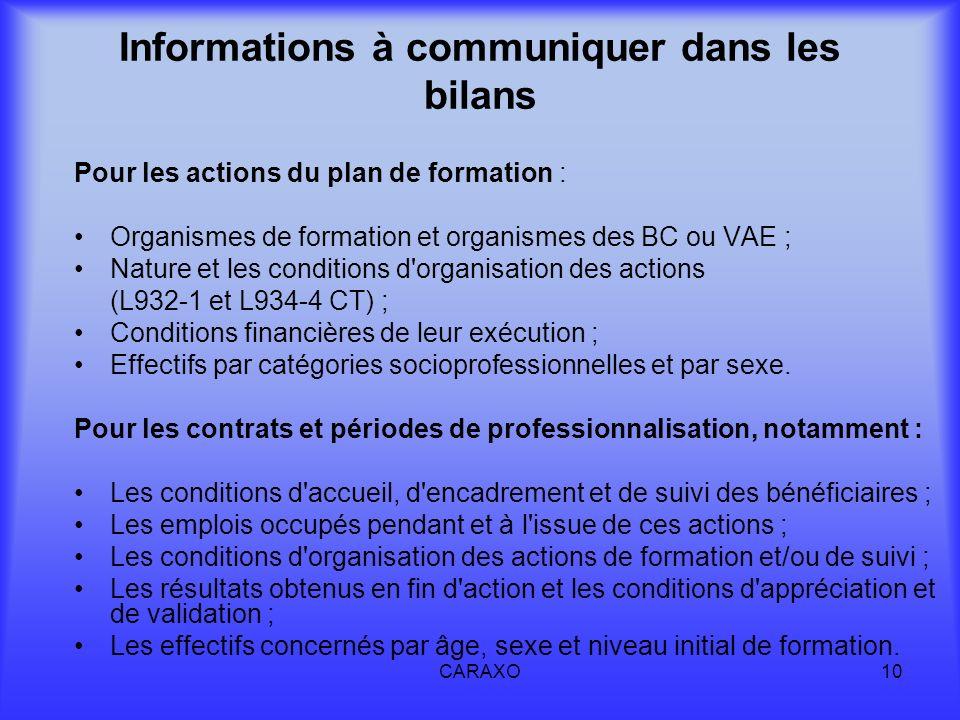 Informations à communiquer dans les bilans