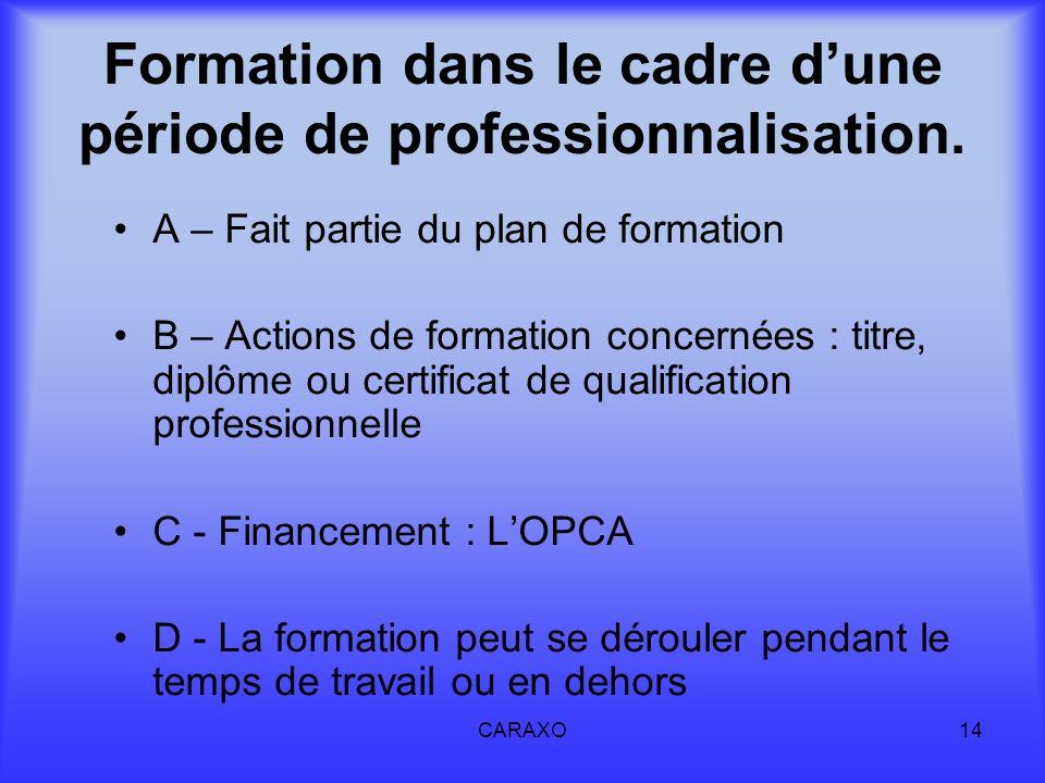 Formation dans le cadre d'une période de professionnalisation.