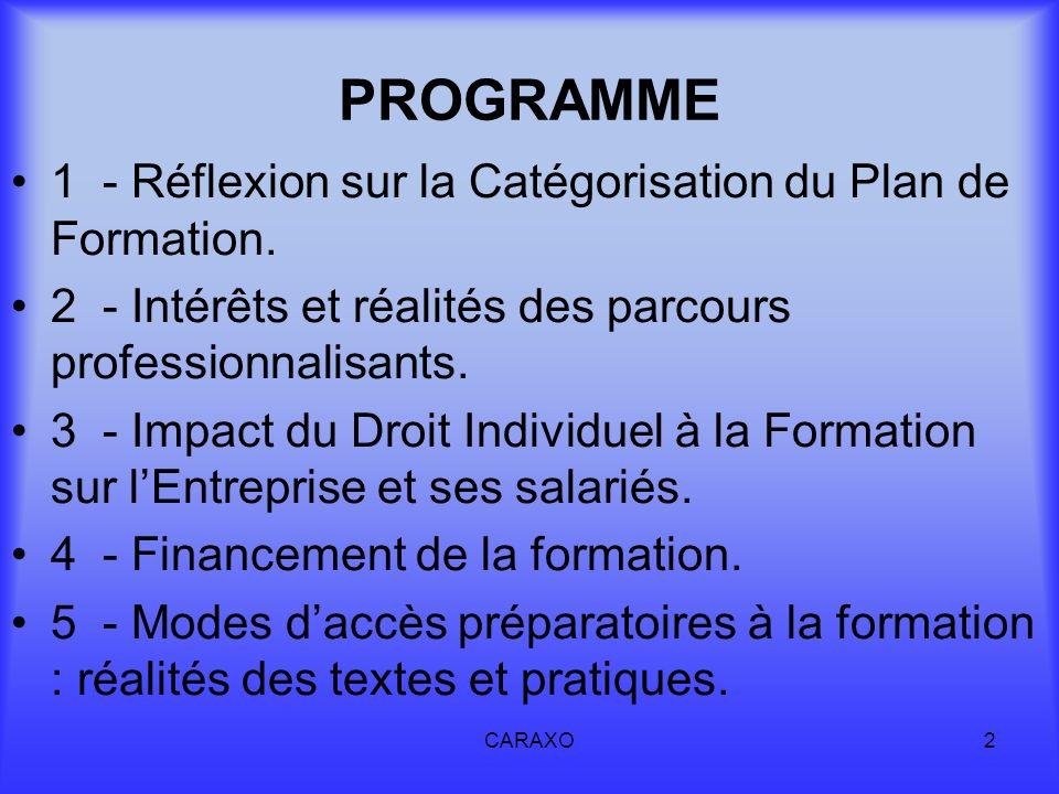 PROGRAMME 1 - Réflexion sur la Catégorisation du Plan de Formation.