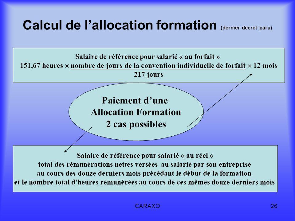 Calcul de l'allocation formation (dernier décret paru)