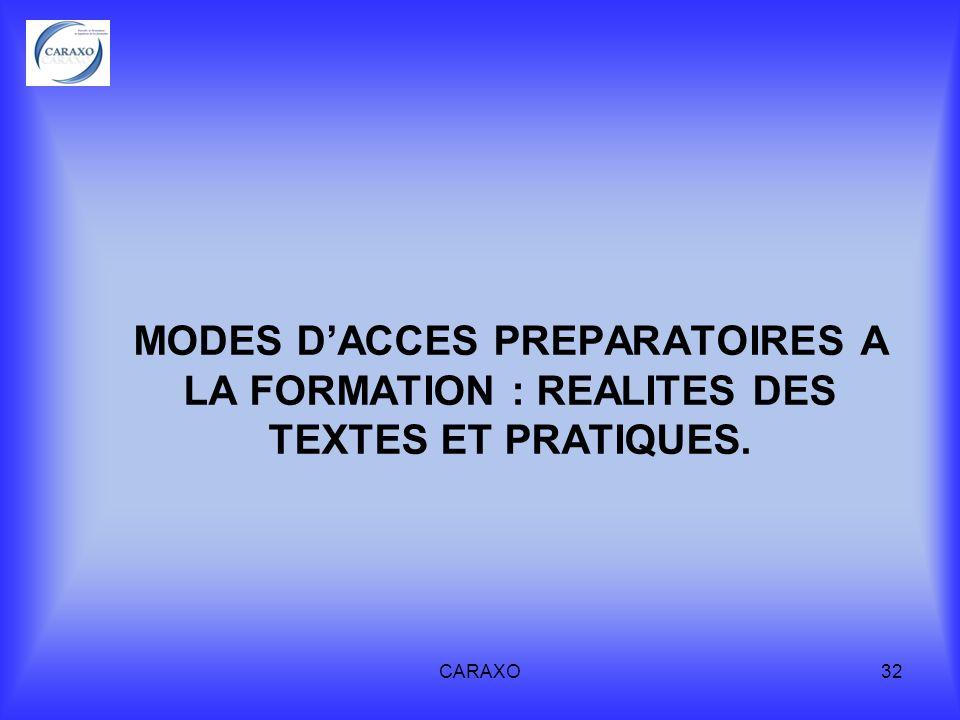 MODES D'ACCES PREPARATOIRES A LA FORMATION : REALITES DES TEXTES ET PRATIQUES.