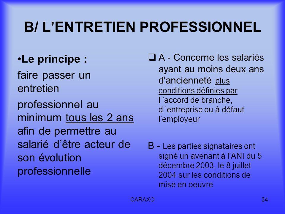 B/ L'ENTRETIEN PROFESSIONNEL