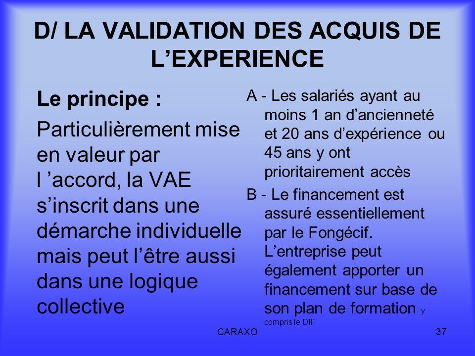 D/ LA VALIDATION DES ACQUIS DE L'EXPERIENCE