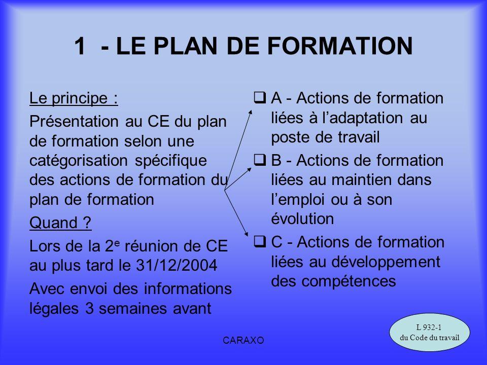 1 - LE PLAN DE FORMATION