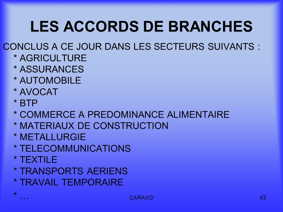 LES ACCORDS DE BRANCHES