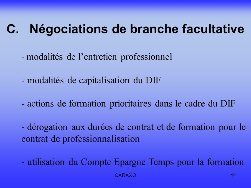 Négociations de branche facultative