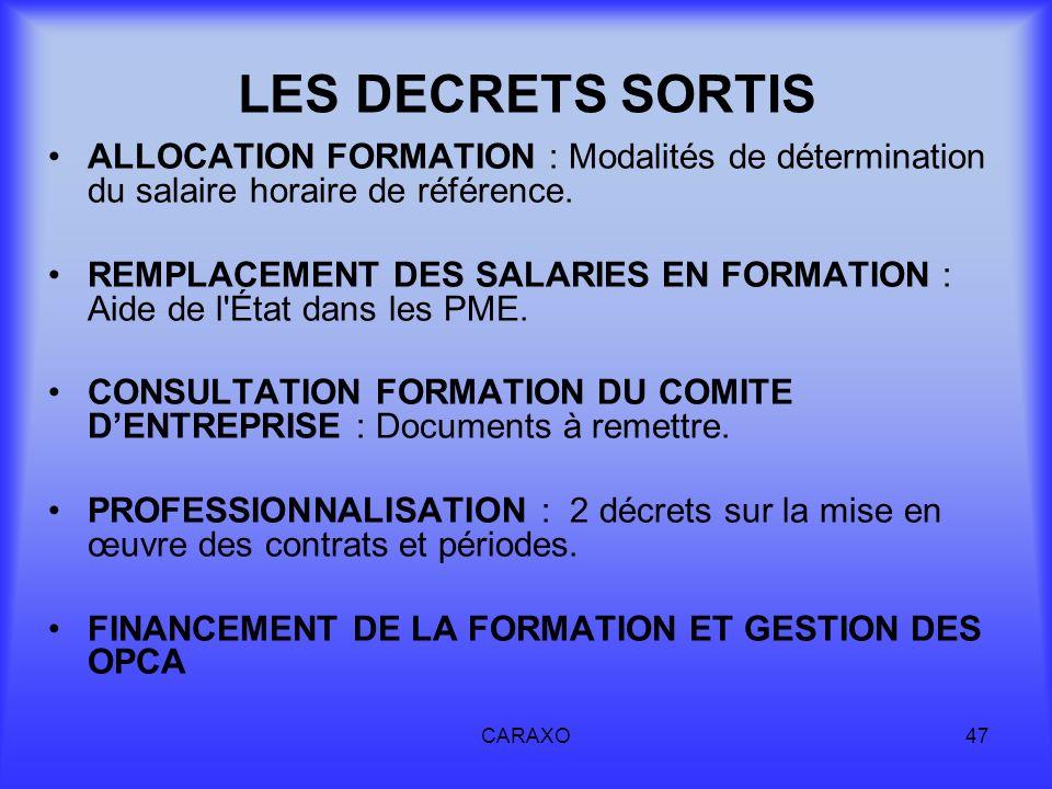LES DECRETS SORTISALLOCATION FORMATION : Modalités de détermination du salaire horaire de référence.