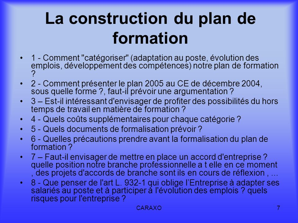 La construction du plan de formation