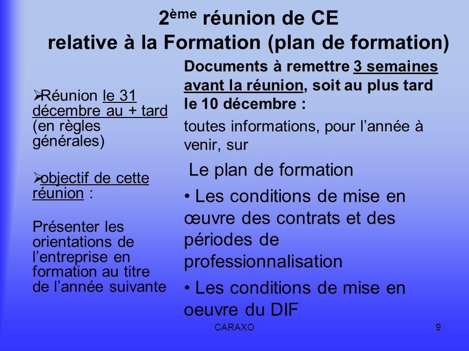 2ème réunion de CE relative à la Formation (plan de formation)