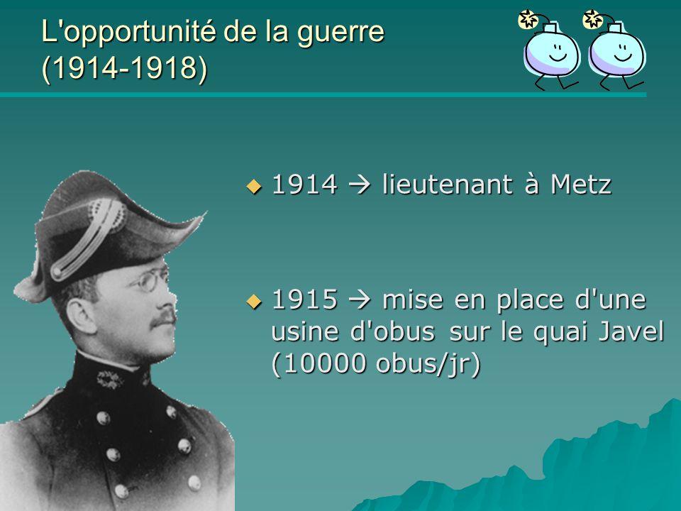 L opportunité de la guerre (1914-1918)