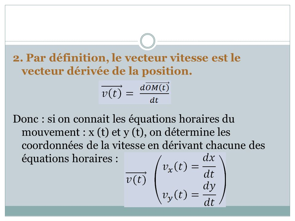 2. Par définition, le vecteur vitesse est le vecteur dérivée de la position.