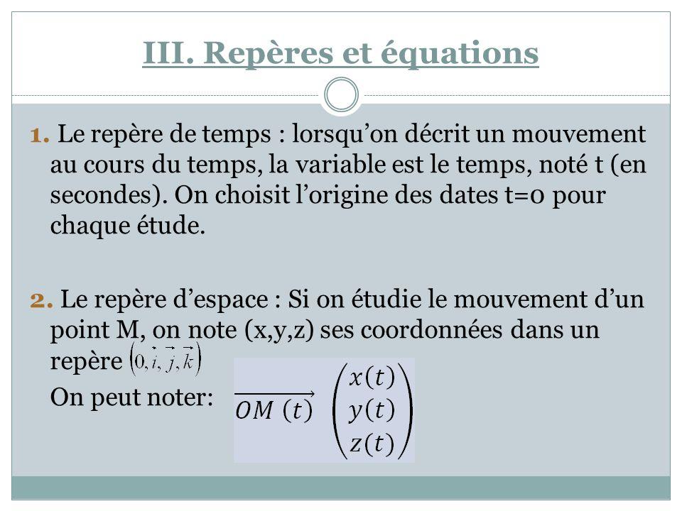 III. Repères et équations