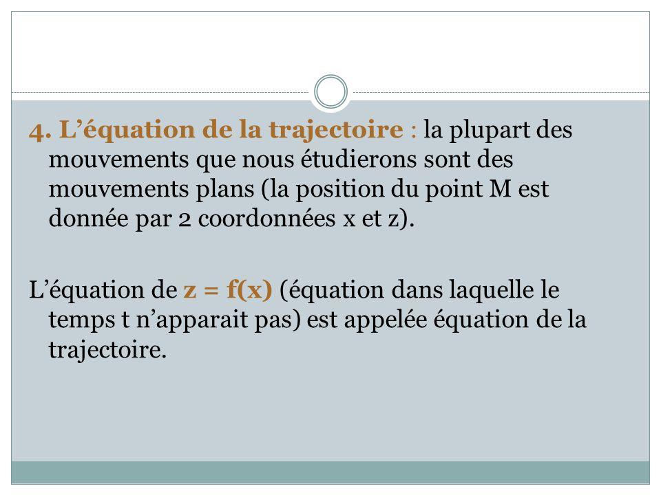 4. L'équation de la trajectoire : la plupart des mouvements que nous étudierons sont des mouvements plans (la position du point M est donnée par 2 coordonnées x et z).