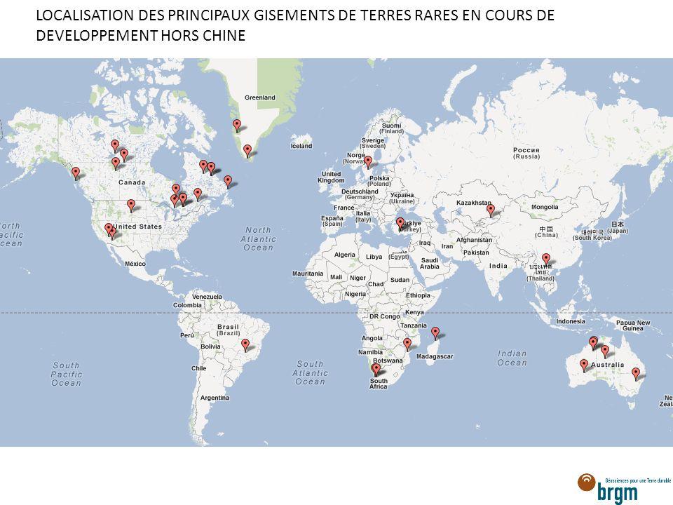 LOCALISATION DES PRINCIPAUX GISEMENTS DE TERRES RARES EN COURS DE DEVELOPPEMENT HORS CHINE