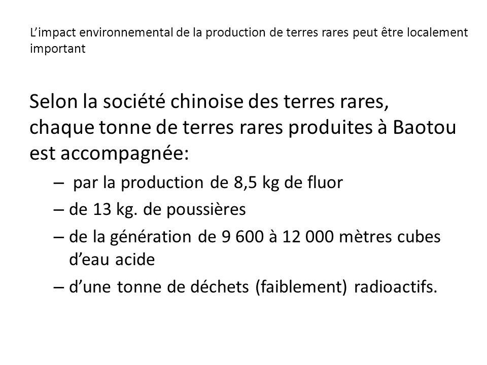 L'impact environnemental de la production de terres rares peut être localement