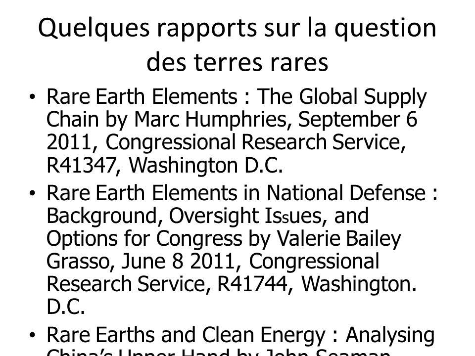 Quelques rapports sur la question des terres rares