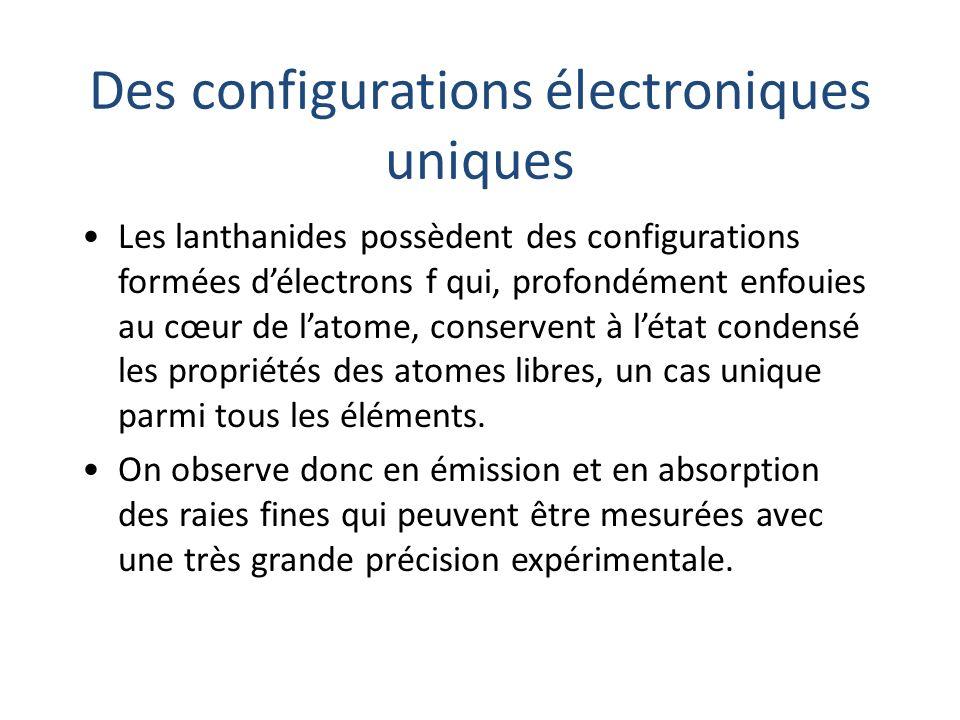 Des configurations électroniques uniques