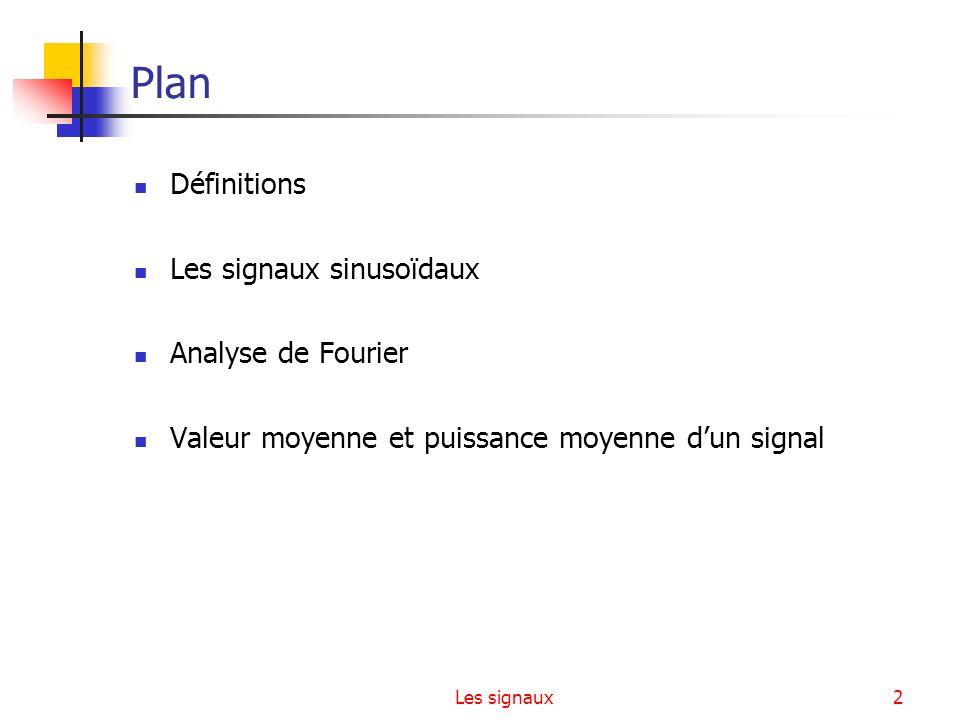 Plan Définitions Les signaux sinusoïdaux Analyse de Fourier