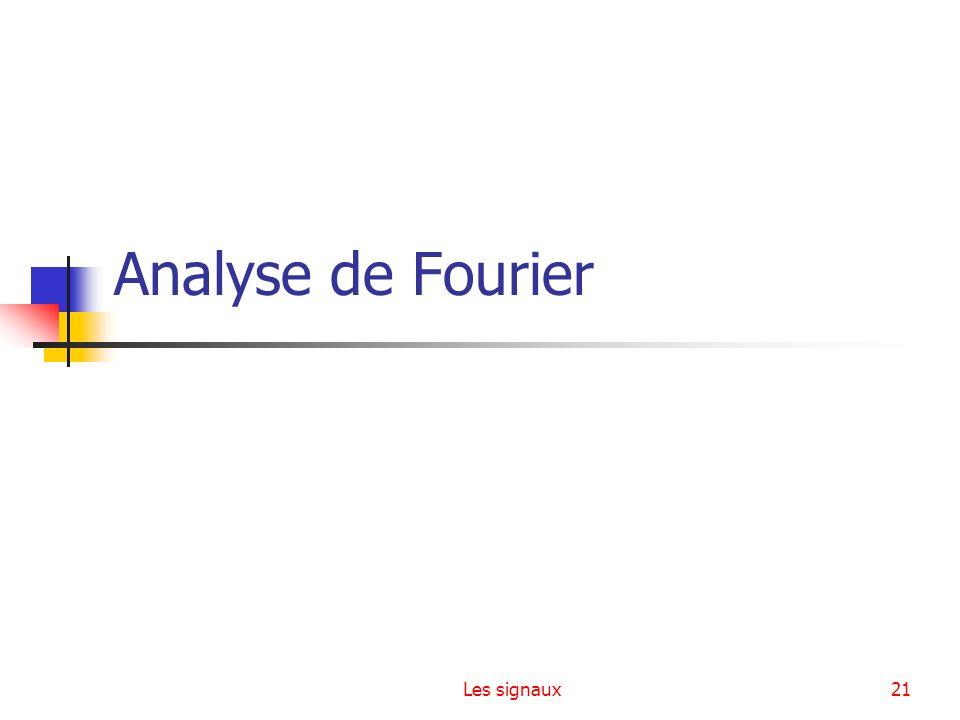 Analyse de Fourier Les signaux
