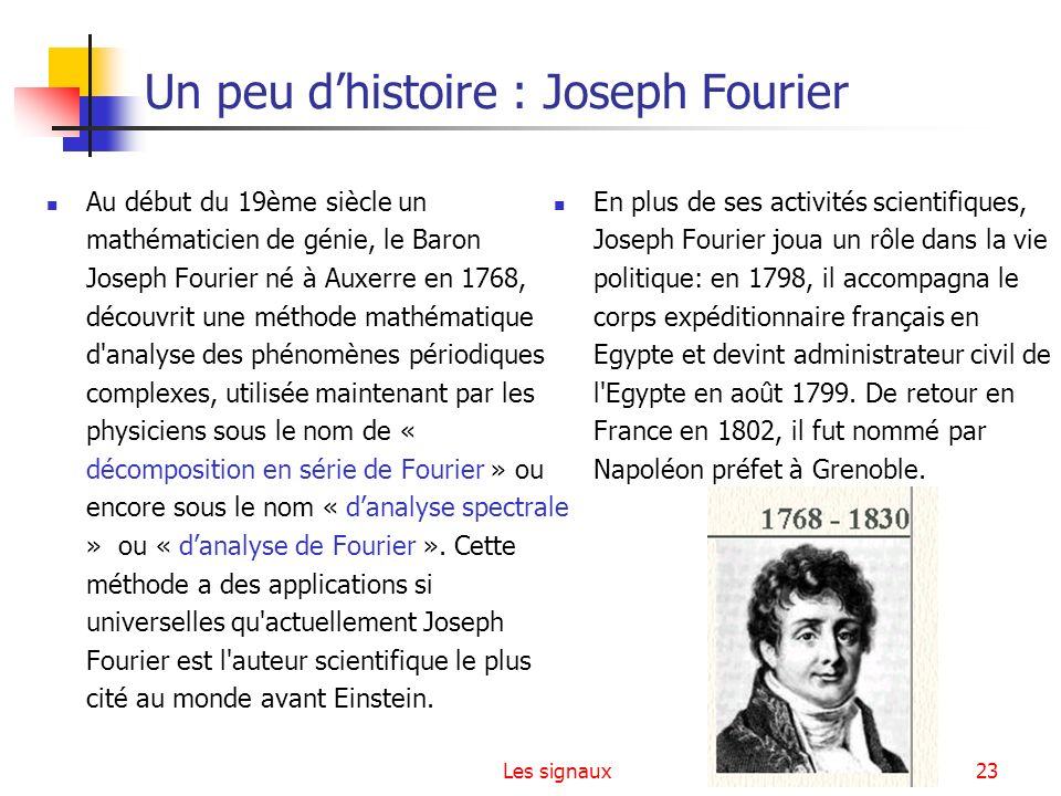 Un peu d'histoire : Joseph Fourier