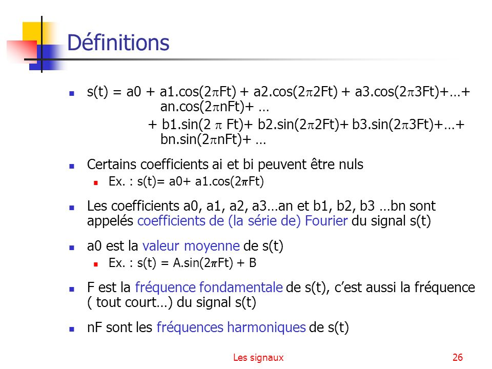 Définitions s(t) = a0 + a1.cos(2Ft) + a2.cos(22Ft) + a3.cos(23Ft)+…+ an.cos(2nFt)+ …