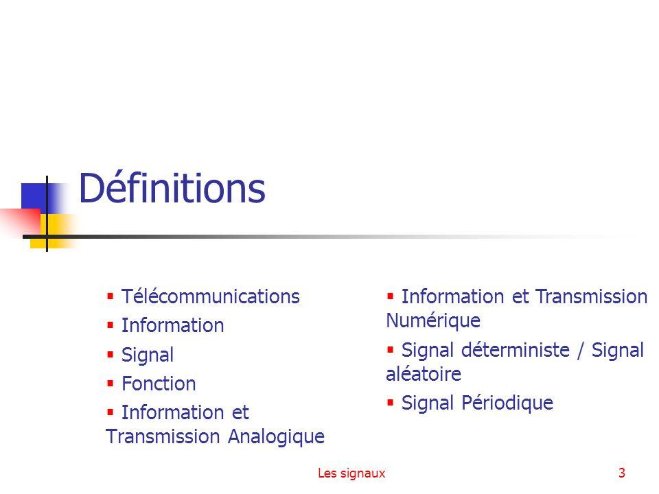 Définitions Télécommunications Information Signal Fonction