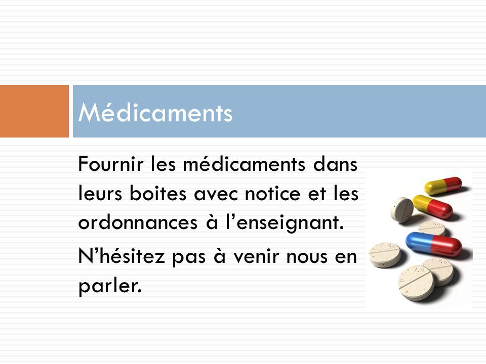 Médicaments Fournir les médicaments dans leurs boites avec notice et les ordonnances à l'enseignant.