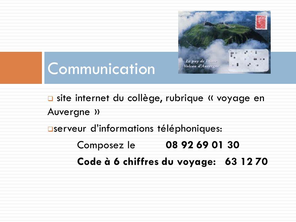 Communication site internet du collège, rubrique « voyage en Auvergne » serveur d'informations téléphoniques: