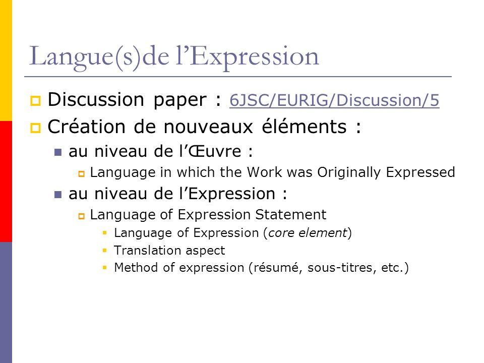 Langue(s)de l'Expression