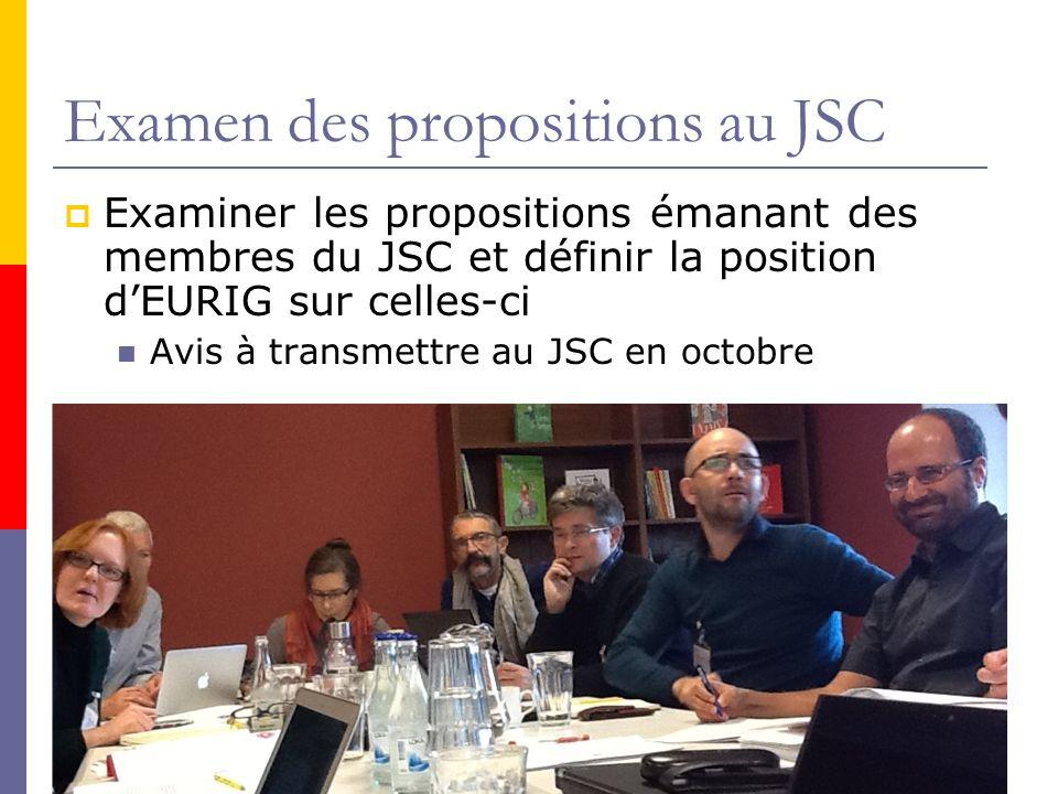 Examen des propositions au JSC