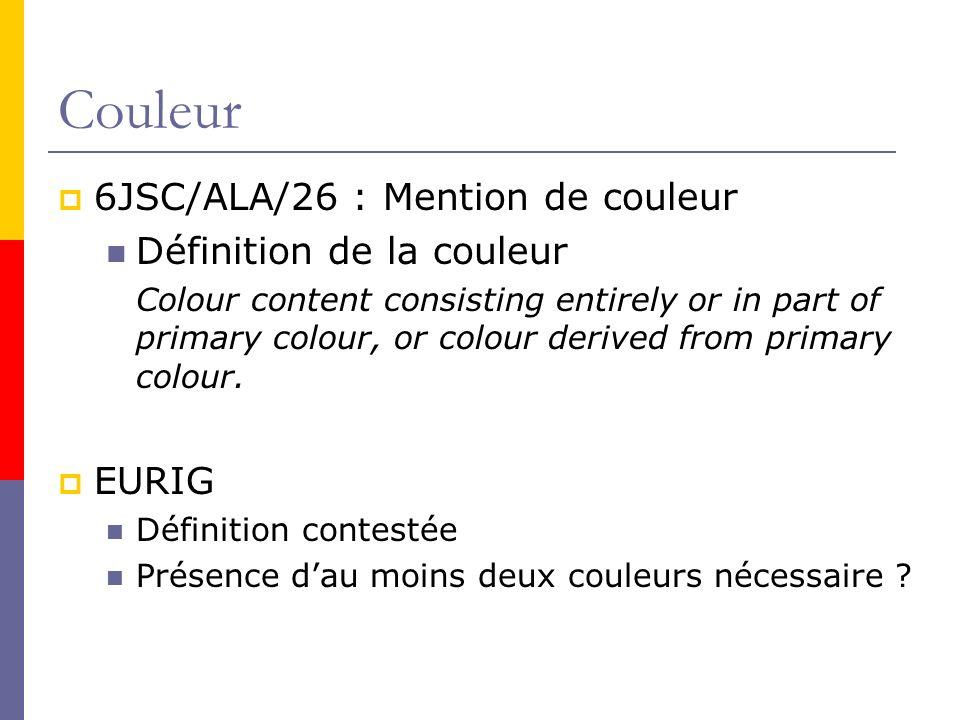 Couleur 6JSC/ALA/26 : Mention de couleur Définition de la couleur
