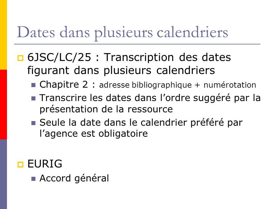 Dates dans plusieurs calendriers