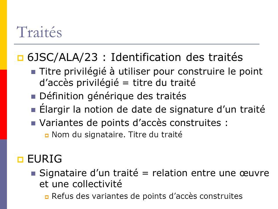 Traités 6JSC/ALA/23 : Identification des traités EURIG
